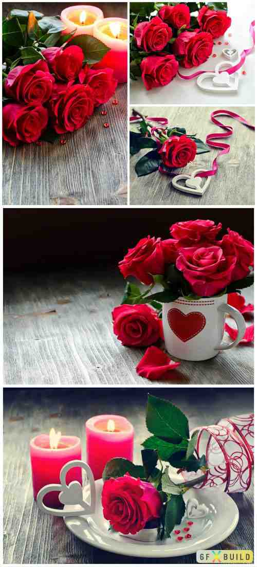 Roses and candles romantic stock photo