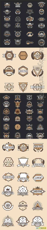Set vintage badge, logo in vector