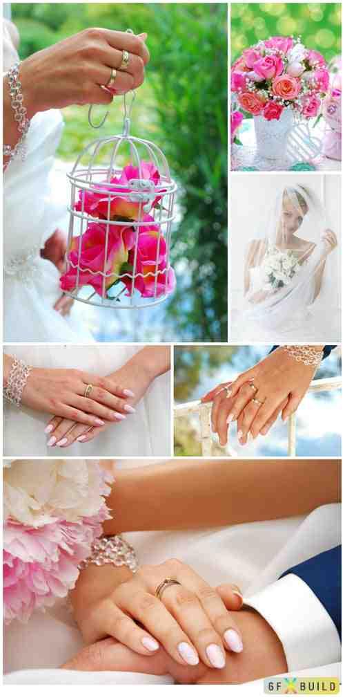 Wedding set, hands of bride and groom stock photo