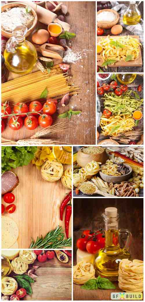 Pasta, tomatoes, eggs and herbs stock photo