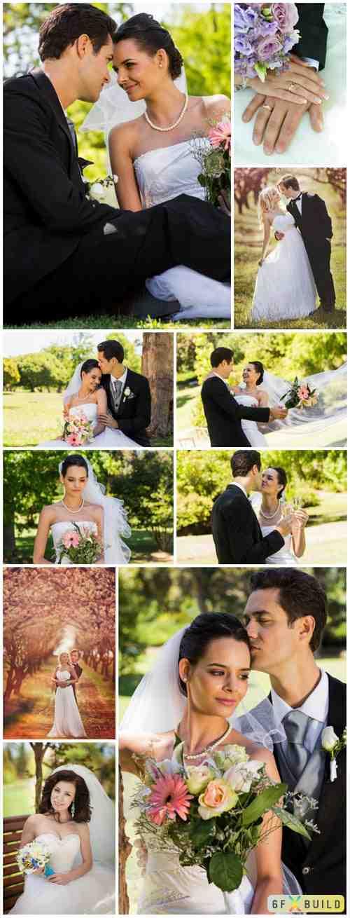 Happy newlyweds, bride and groom, wedding stock photo