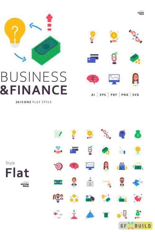 36 Business and Finance Icons Flat Style