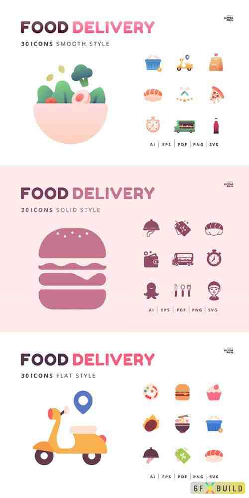30 Icons Food Delivery