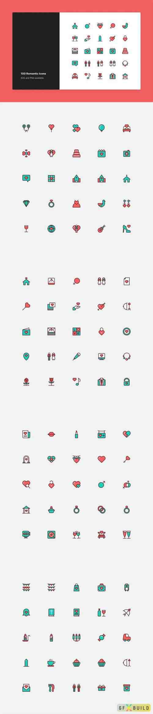 Romantic & Love Icon Set - Color Style