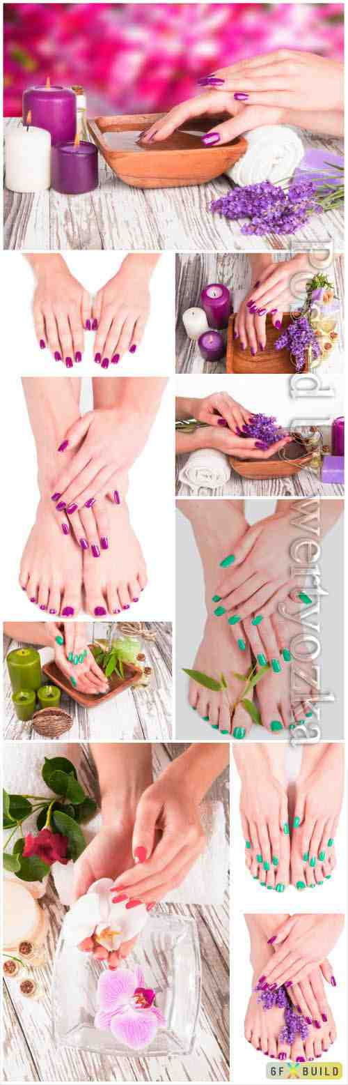 Pedicure and manicure stock photo