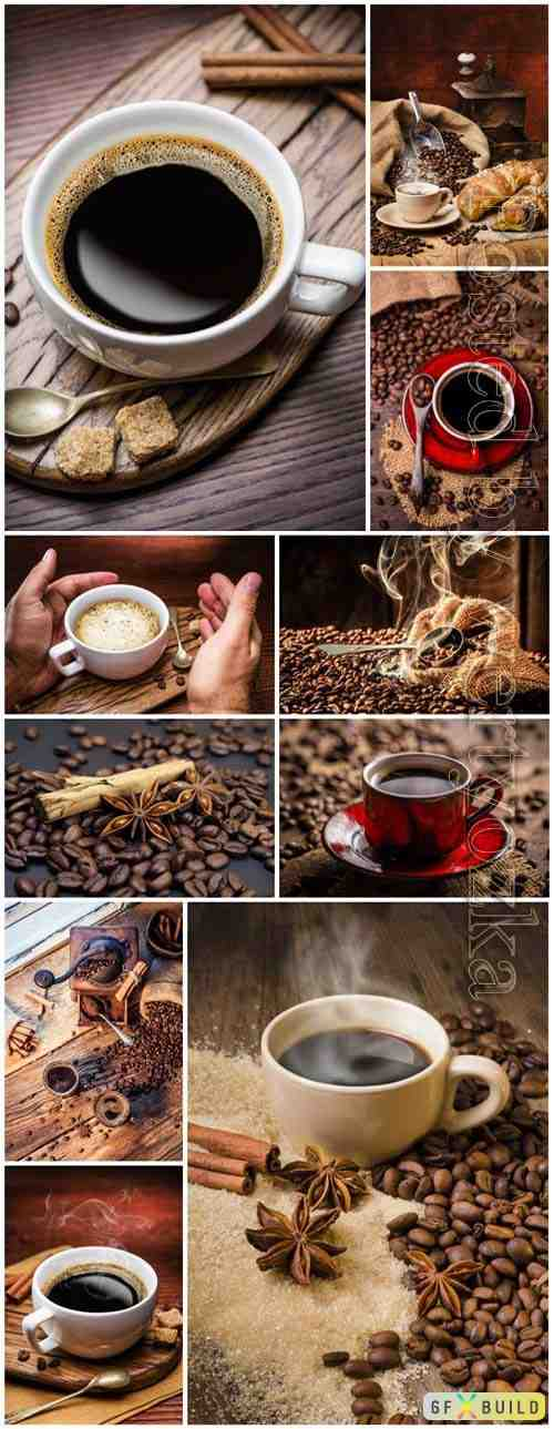 Cups with coffee and coffee beans on table stock photo