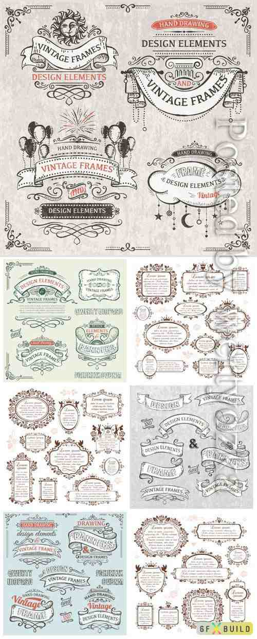 Vintage frames and elements in vector