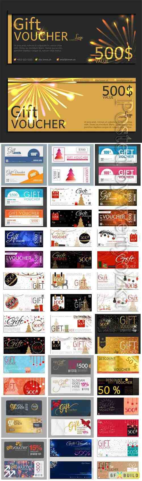Collection of vouchers in vector