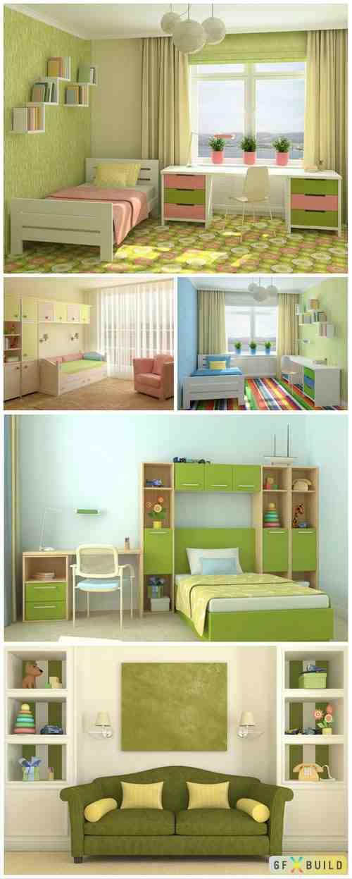 Children's room in olive tones stock photo
