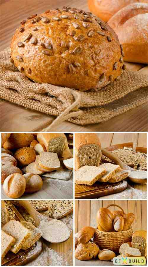 Basket with fresh bread stock photo