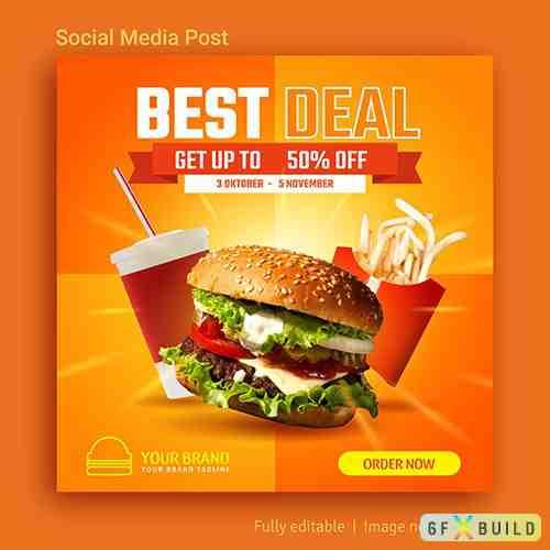 Best deal promotion social media post template design