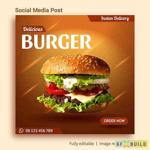 Burger sale social media post advertising template