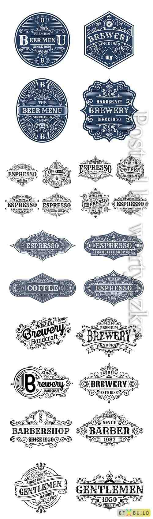 Set of vintage vector label design