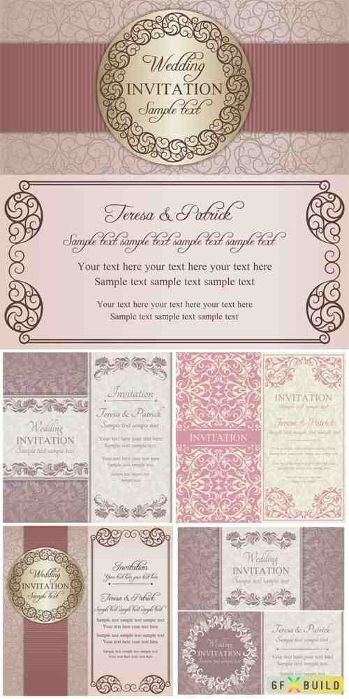 Wedding vector invitation cards with beautiful ornaments