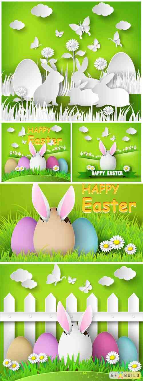 Easter vector illustration cut from paper