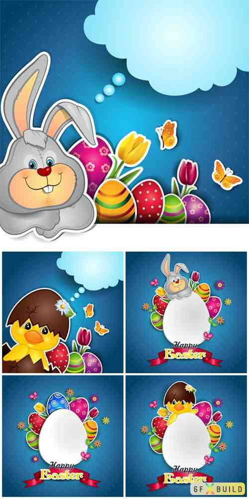 Easter bunnies and eggs vector illustration