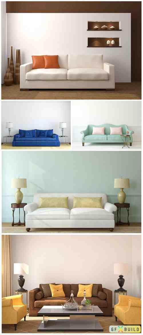 Sofas, modern interior stock photo