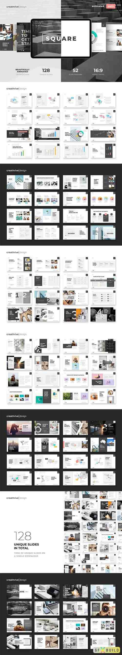 Square Animated PowerPoint and Keynote