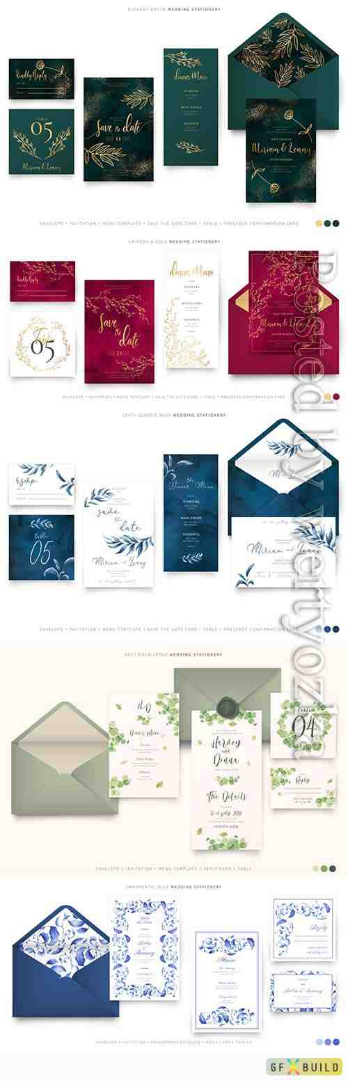 Wedding set of templates for invitations