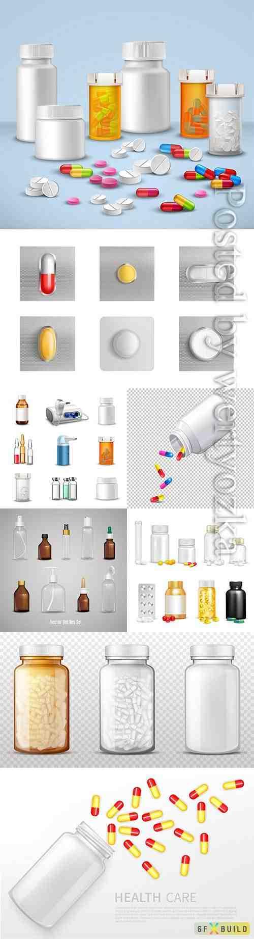 Medical pills in vector