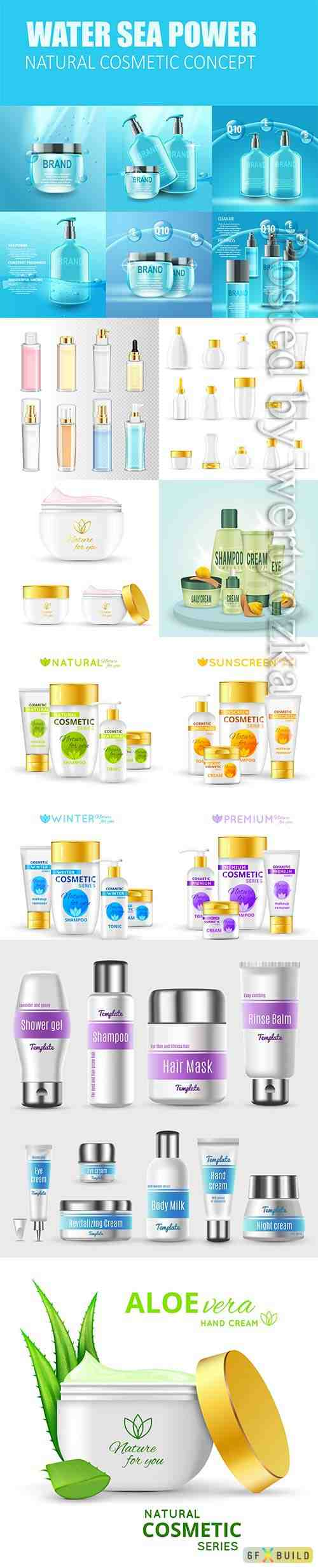 Realistic products cosmetic vector template