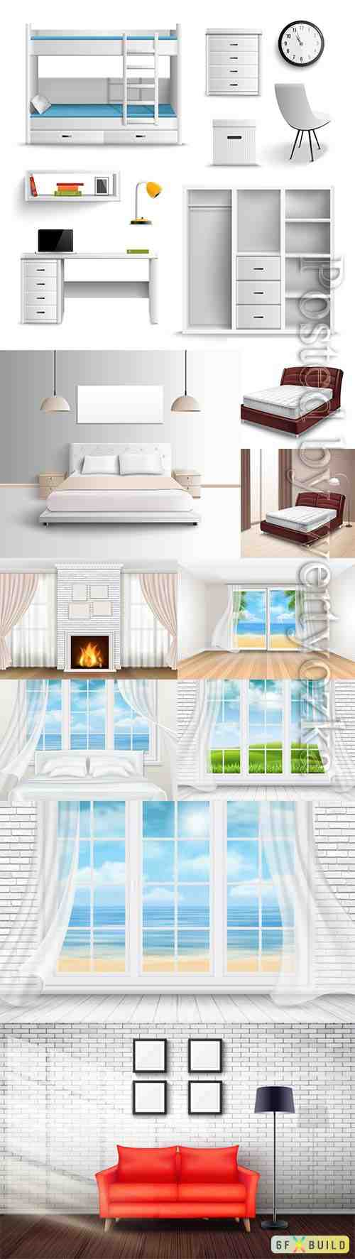 Interior of rooms, windows vector illustration