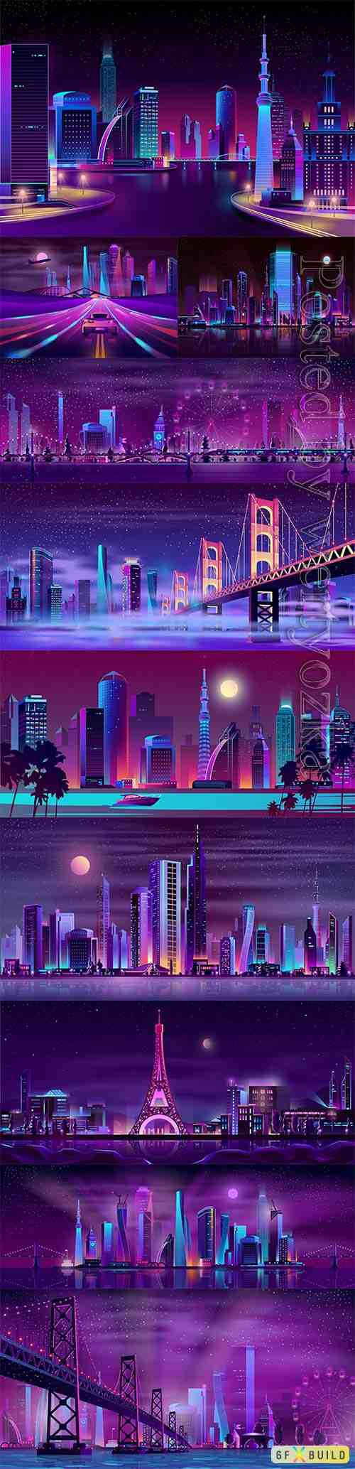 Night streets cartoon vector background
