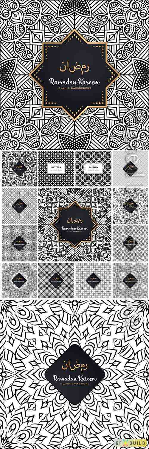 Seamless islamic black and white vector pattern