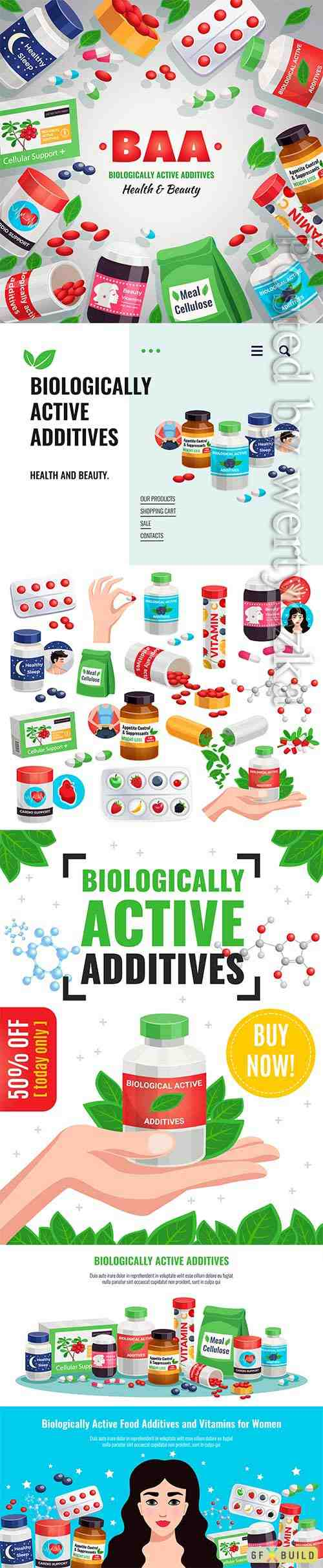 Biologically active additives in vector