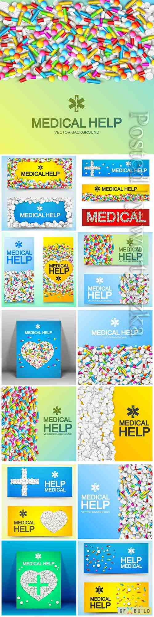 Medical care poster with inscription and colorful medicaments