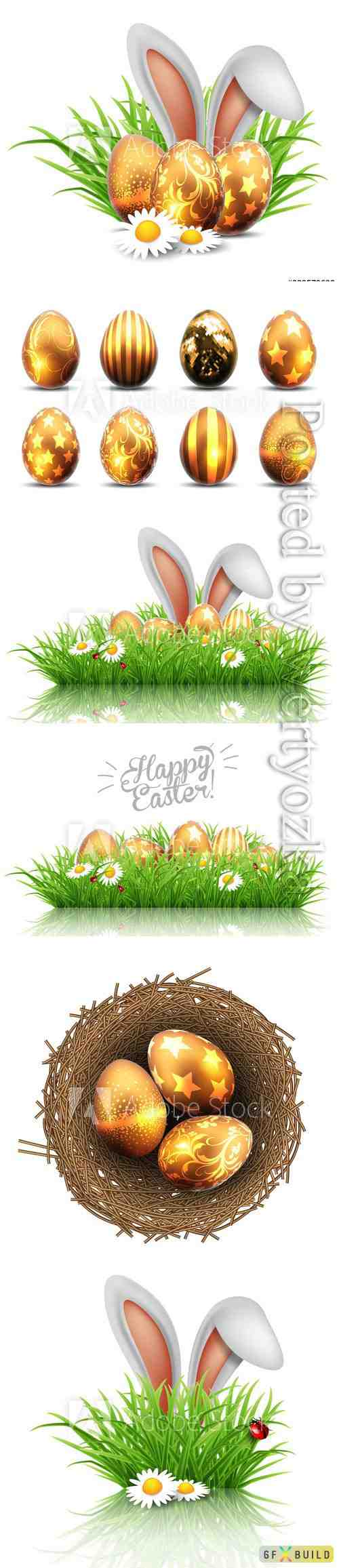 Happy Easter greeting card, rabbit ears peeping out of grass with daisies