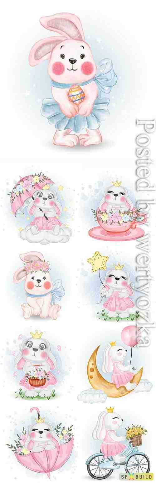 Cute bunny with easter egg nursery watercolor illustration
