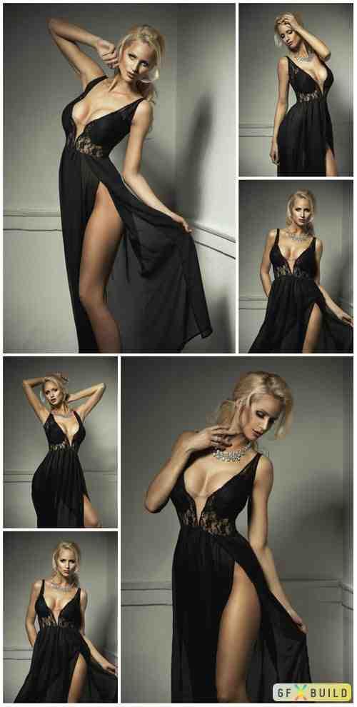 Woman in long dress, pretty girls