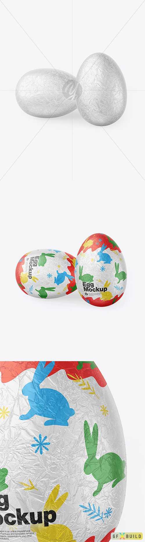Two Eggs in Metallic Foil Mockup 78218 TIF