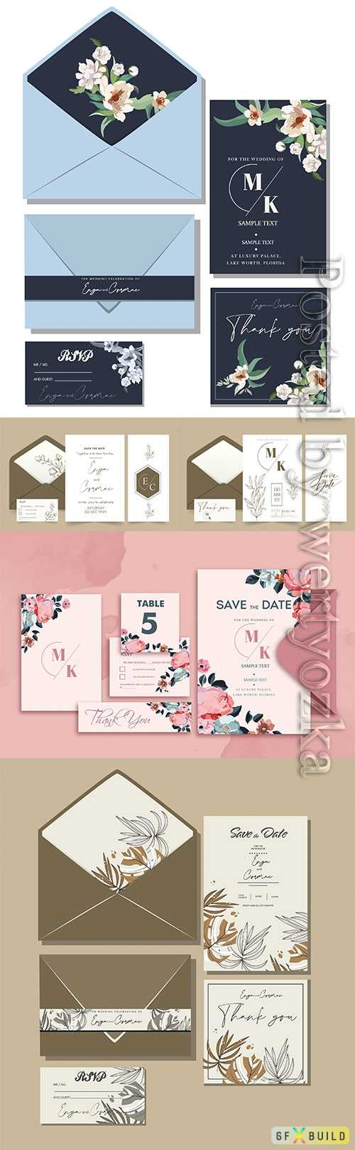 Wedding elegant invitation cards in vector