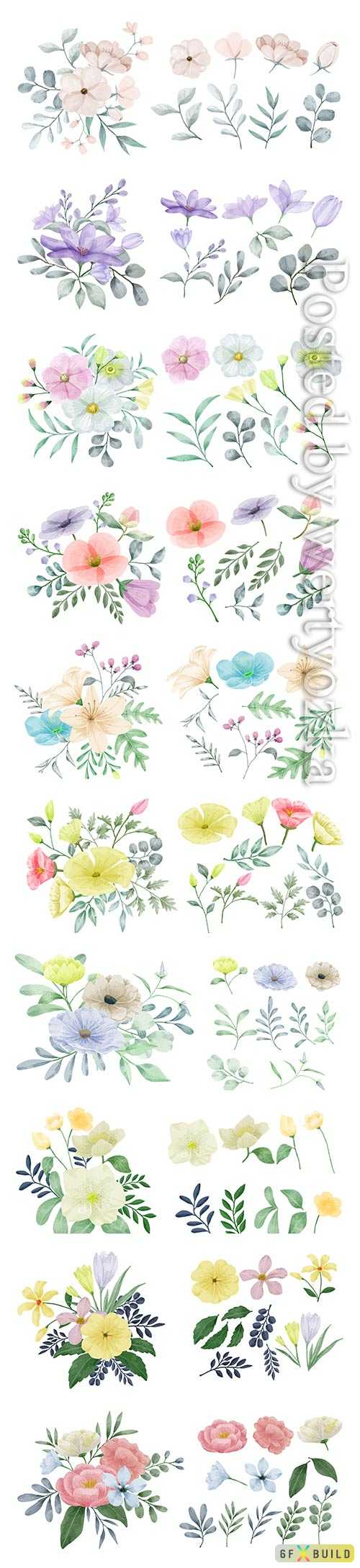 Vector flowers painted with watercolors