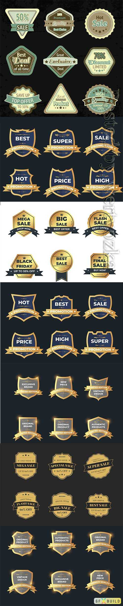 Set of retro vintage vector sale badge