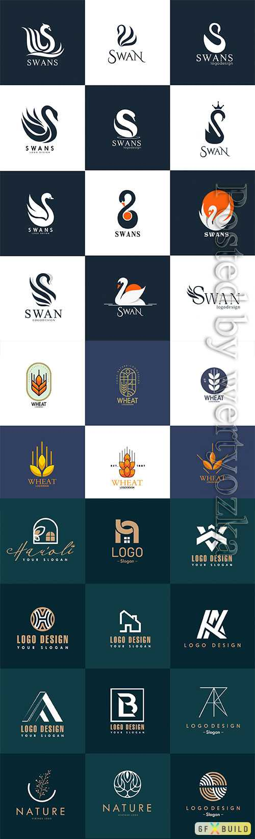 Set of different logos for business companies in vector