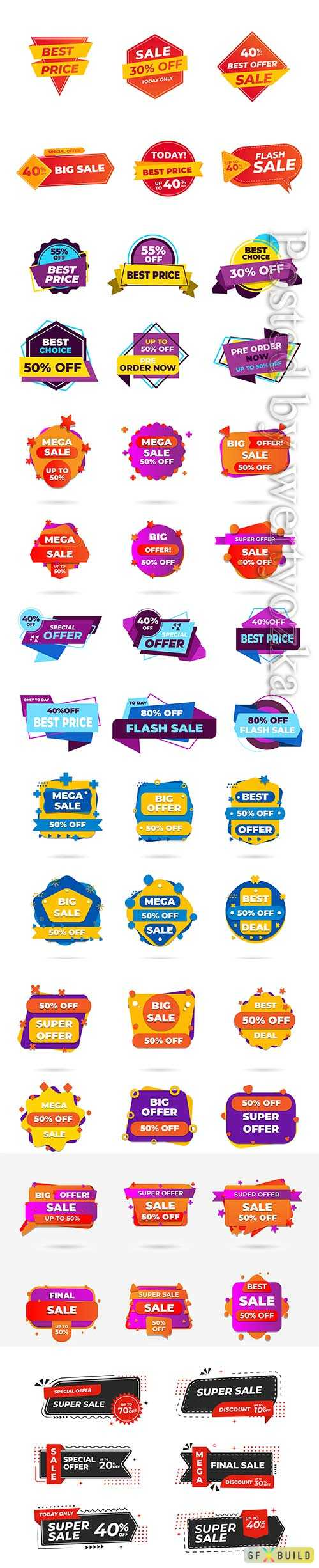 Sale banners and tag, labels, discount sticker