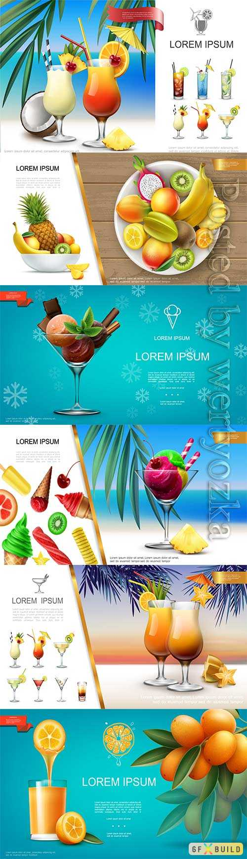 Realistic fresh healthy summer food and drink vector concept