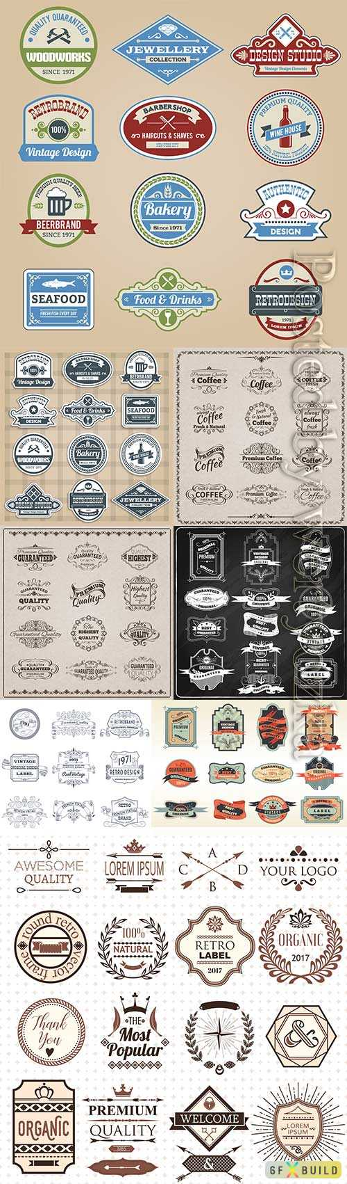Original retro labels emblems collection