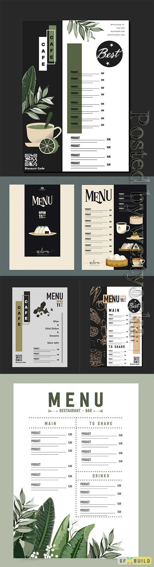 Menu for a cafe and restaurant with a beautiful design in vector