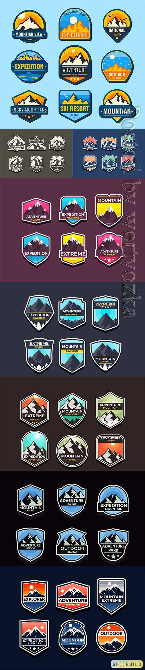 Explore mountain advanture symbol vector set