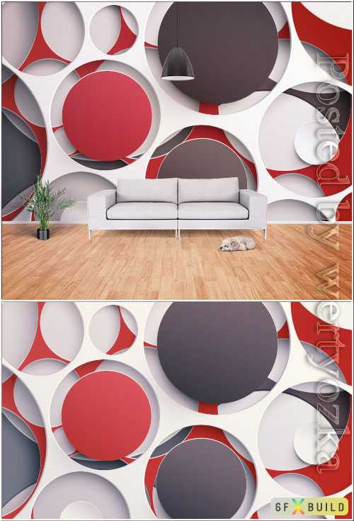 Modern stylish minimalistic 3d geometric graphic tv background wall
