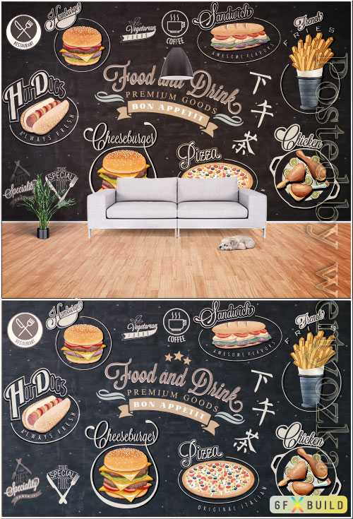 Hand drawn vintage chalkboard western style fast food background wall