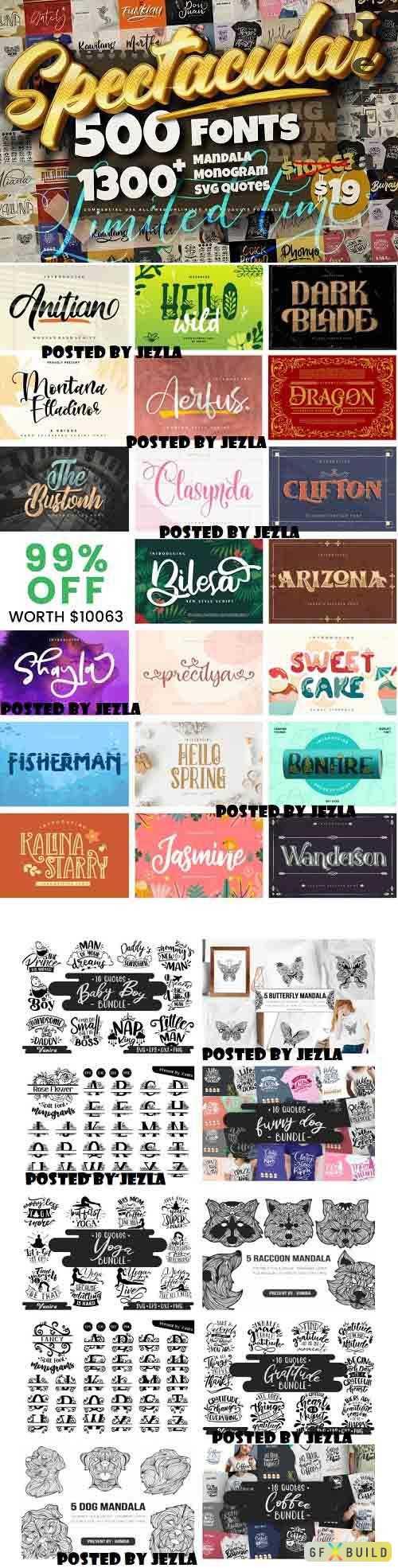 Spectacular Collection Big Bundle - 500 Premium Fonts, 1309 Premium Graphics