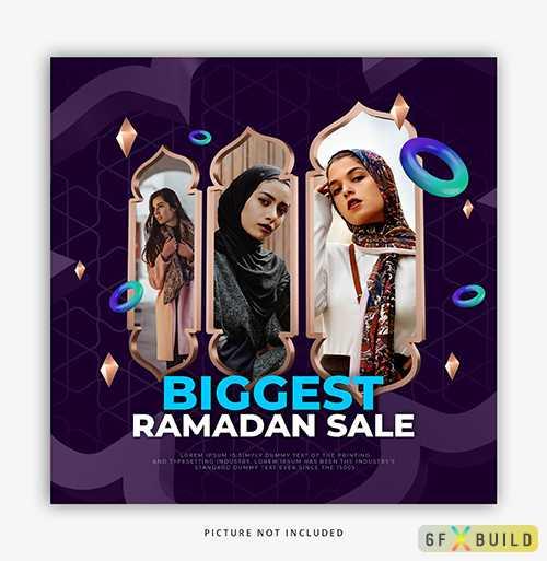 Ramadan sale, social media post template psd