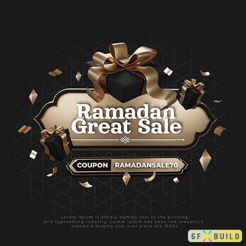 Ramadan great sale, social media post psd template
