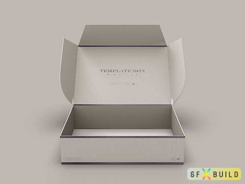 Psd open rectangular cardboard box mockup