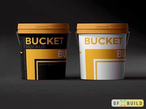Paint plastic bucket psd mockup